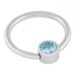 Aqua Crystal Disc Captive Rings