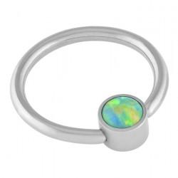 Olive Green Cabochon Opal Disc Captive Ring