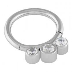 3mm Clear Crystal Cubic Zirconia Triple Gem Hinged Segment Ring