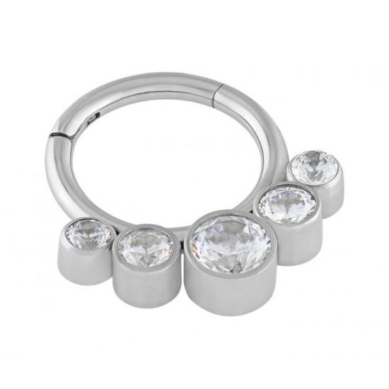 Clear Crystal Cubic Zirconia 5 Stone Gem Hinged Segment Ring